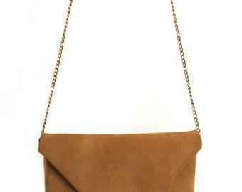 Bag camel leather envelope