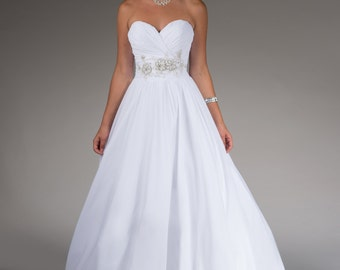 Chiffon wedding gown with beading