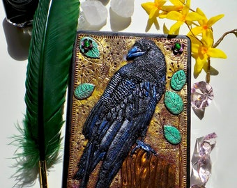 Notebook, journal with a crow polymer clay cover notebook Crow Raven