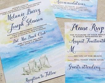 NEW for 2017! Watercolor Beach Destination Wedding Invitation Set. Beach Watercolor wedding invitation. Beach Destination Watercolor Wedding