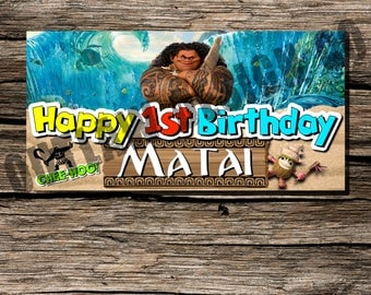 Maui Disney Moana Vaiana Birthday Party Backdrop Banner Personalized Customized Instant Download Printable Party Decor Boy