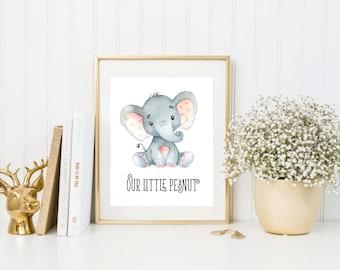 Nursery Elephant Printable Nursery Wall Art Elephant Print Our Little Peanut Nursery Art Print Animal Decor Safari Nursery Safari Wall Art