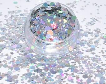 100 g/93,33Euro - glitter mix bag Hexagon hologram Star Silver sparkle