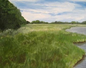 Original oil painting of Marshland