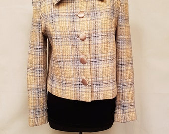 Vintage women short checkered jacket ELVA 1990. years. Lithuania. With satin coated buttons.