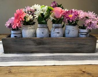 Wood planter box | planter box center piece | rustic table center piece | indoor wooden planter box | outdoor wooden planter box