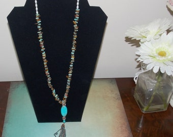Bohemian Mother of Pearl Chips Tassel Necklace