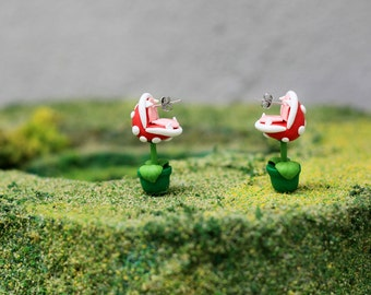 YOUCH Piranha Plant Earrings, Nintendo Super Mario Earrings, Chomper Earring, Adorable Earrings, Easter Gift, Birthday Gifts, Black Earrings