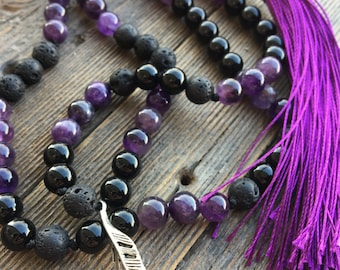 Sooth Mala - Amethyst, Onyx, High Quality Authentic Stones and Crystals, Traditional 108 Bead Meditation Prayer Mala Beads