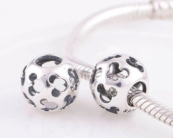Authentic Sterling silver charm mickey mouse beads perfect fit for pandora and troll or european bracelets