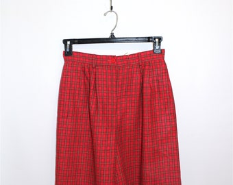 Vintage Women's Clothing • 80's Red Plaid Trouser Shorts  • High Waisted • Pleated • Worsted Wool •