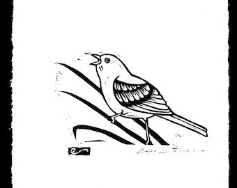 Semore the Bird Wood Block Print