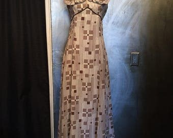 1970s brown and white maxi