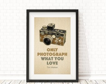 Camera print, Photographer Quote, Inspirational quote, Retro camera Print, Retro Art, Photographer Print, PRINTABLE Quote, Vintage Camera