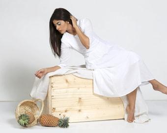 White Cotton Dress, Summer Dress, Dress for women, Casual Dress, Pleated Dress, Pure cotton dress