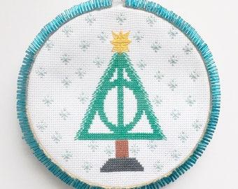 Harry Potter Cross Stitch Pattern: Deathly Hallows Cross Stitch, Snowflake Pattern, Christmas Cross Stitch, Harry Potter Christmas Gift