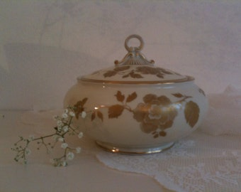 Beautiful Bonboniere, porcelain jar with lid, ivory with gold floral decor, vintage mid century
