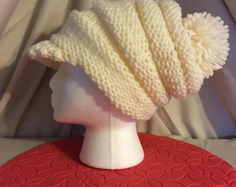 Cream Slouchy Cap with Brim and Pompom