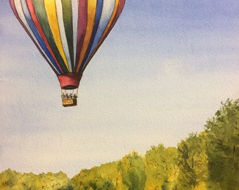 hot air balloon - balloon - summer - river - original watercolour and ink - watercolour - original art - decor - balloon - balloon ride