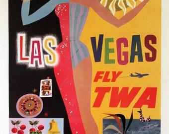 TWA LAS VEGAS, Vintage Reproduction Travel Poster