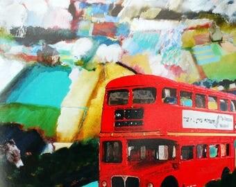 Blank Greetings Card. London Bus. British Landscape Art.