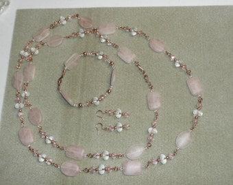 Rose quartz, crystals and copper