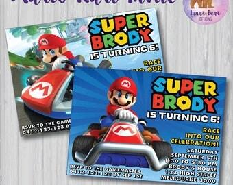 Mario Kart Invitation, Mario Kart Party, Mario Kart Birthday Party, Mario Kart Invite, Mario and Luigi, Super Mario, Video Game Party