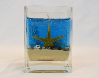 Deep Blue Ocean Gel Candle, Seashell Gel Candle, Pineapple Scented