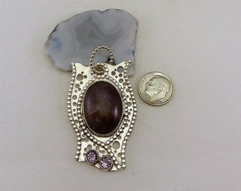 Purple Jasper, Faceted Lavender Amethyst, Free Form, Pierced Handcrafted Sterling Silver Pendant