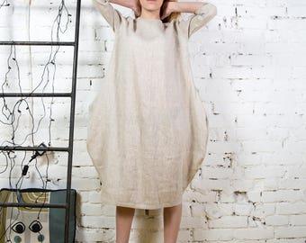 Linen boho dress, linen oversize tunic, linen top, beige linen dress, women linen clothing, sun dress/ LD0007