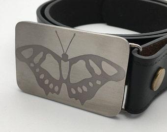 Butterfly belt buckle design titanium replaceable handmade