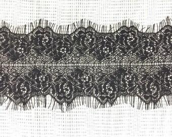 Chantilly black double eyelash lace 3 yards