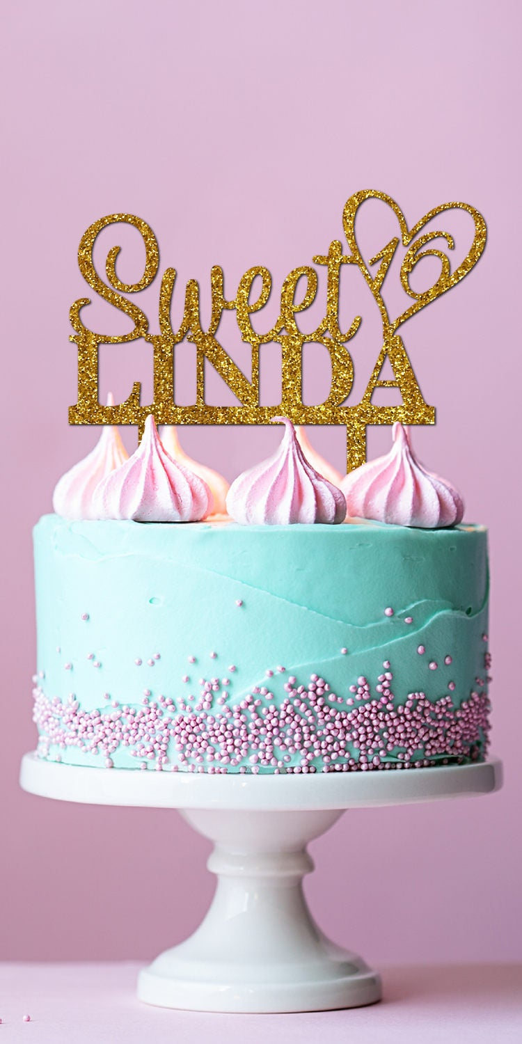 Personalized Name Custom Sweet 16 Cake Topper Party