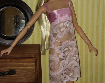 Pink lace Nightgown for barbie, Fashion Royalty (2 Fr, monogram)