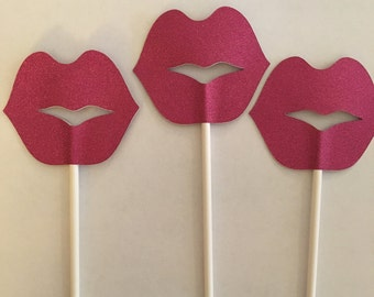 Pink Glitter Lips Cupcake Toppers, Birthday,  Bachelorette- Set of 12
