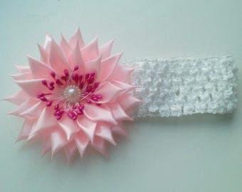 Newborn headband, baby headband, pink flower headband.