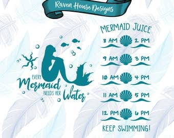 Every Mermaid Needs Her Water - Digital Download - SVG Cut Files - EPS Cut Files - Cameo Cut File - Cricut Cut File - Water Tracker File