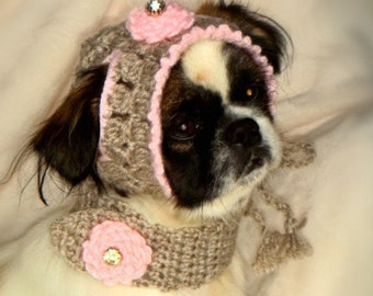 Dog hat & scarf crochet handmade. Exclusive pet clothes. Winter hat for dogs- Nature winter clothing for dogs. Scarf for dogs. Small dogs .