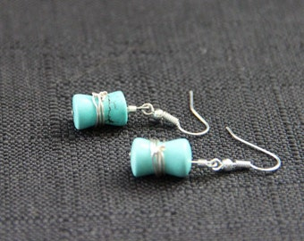 Turquoise Wrapped Dangle Earrings