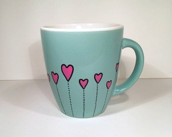 Cute Dotted Hearts, Coffee Mug, Love Heart Mug, Hand Painted Mug