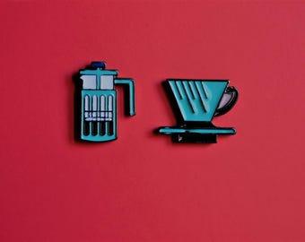 Enamel Pin Set French Press Coffee & Cup Coffee