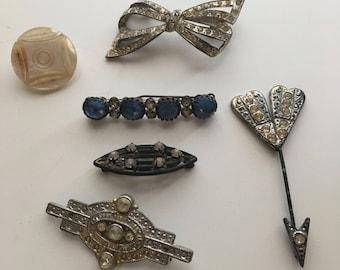 Antique Vintage Rhinestone Brooch Pin Lot Art Deco Victorian Style Arrow Bow