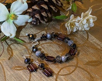 Black Crystal and Purple Glass Bead Bracelet and Earrings