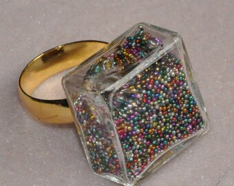 Glass - sandblasted and glitter - ring adjustable size