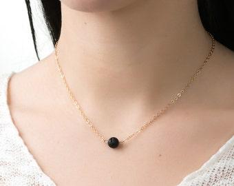 Essential oil diffuser necklace black necklace Minimalist lava minimalist necklace essential necklace layering necklace simple necklace gold