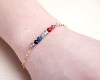 Womens bracelet Gemstone bracelet Chakra bracelet Yoga bracelet Colorful bracelet Gold Delicate bracelet Chakra jewelry Beaded bracelet tiny