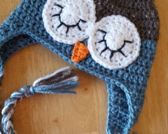 crochet sleepy owl hat