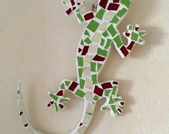 Green Gecko - handmade salamander, mosaic, decoration, gift, art