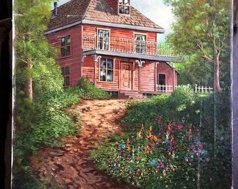 """Detailed Original Painting Of """"Home In The Woods"""""""
