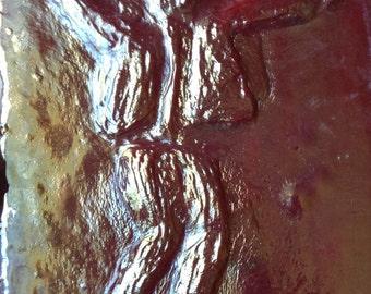 Red iridescent glass tap dancer tile